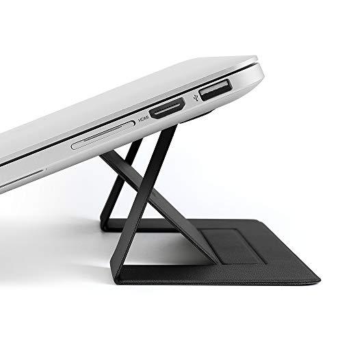 memumi®ノートパソコンスタンド 折りたたみ式 PCホルダー PUレザー 軽量 超薄型 Laptop Stand 粘着式 携帯...