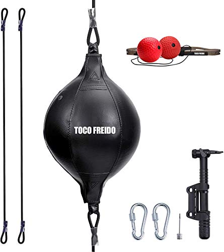 TOCO FREIDO Double End Punching Ball with 2 Boxing Reflex Ball, Pump, Headband, Perfect for Gym MMA Boxing Sports Punch Bag Adult Kids Men Women