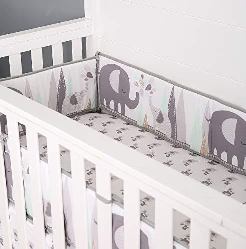 Cuna de bebé TEALP, parachoques, cama para cuna, 2 piezas, protección envolvente, parachoques seguro para cuna, elefante gris, 420 cm x 25 cm