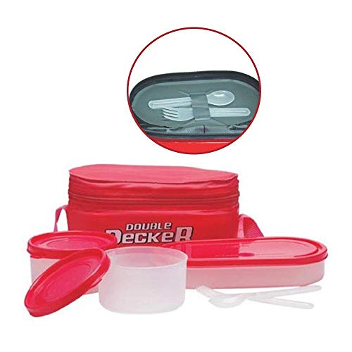 Milton Double Decker 3 Container Lunch Box, Red