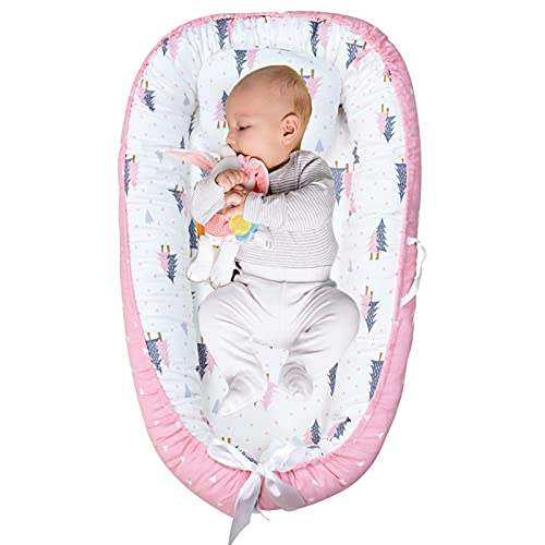 Abreeze Baby Bassinet for Bed Forest Pink Baby Lounger Breathable Baby Nest Sleeper Co-Sleeping Baby Bed Cotton Portable Crib Pillow Infant Lounger