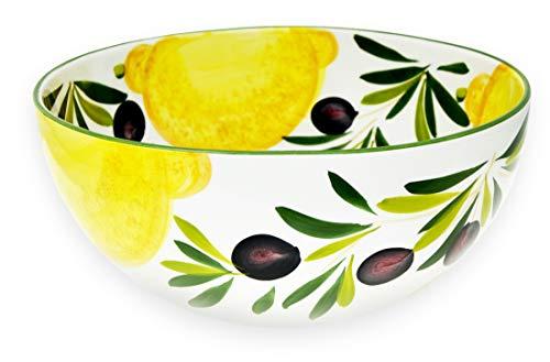Lashuma Runde Keramik Servierschüssel 26 cm, Handbemalte italienische Keramikschale, Design Zitrone - Olive, Tiefe: 12 cm