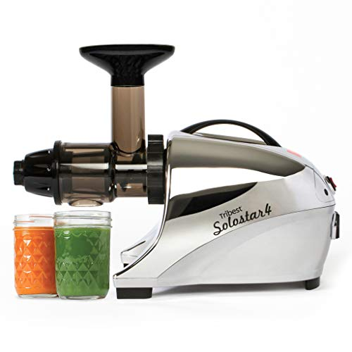 Tribest SS-4250 Solostar 4 Horizontal Slow Masticating Cold Press Juicer, Chrome