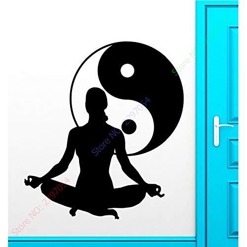 zzlfn3lv Nouvelle Arrivée Fille Yoga Vinyl Decal Zen Méditation Santé Yin Yang Tai Chi Sticker Mural Fenêtre en Verre Magasin Décoration 55 * 88CM