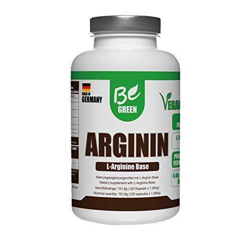 BeGreen® L-Arginin 120 Kapseln – Hochdosiert: 1100 mg L-Arginin pro Kapsel = 4400 mg pro Tagesdosis - Hergestellt durch Pflanzliche Fermentation – Laborgeprüfte Qualität - Made in Germany