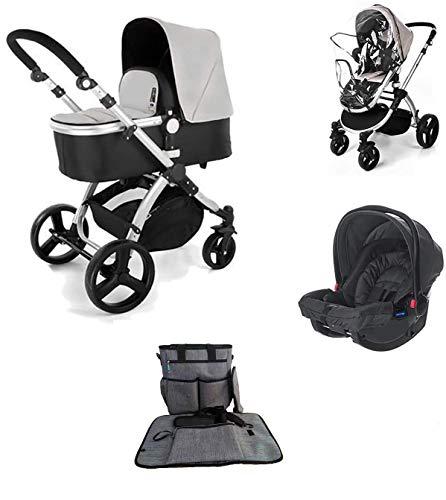 Star Ibaby Neo 3 - Cochecito de Bebé, modelo con silla homologada hasta 22 kg - Incluye Saco , Bolso cambiador y Sombrilla, Color Gris/Negro
