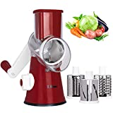 X Home Rotary Cheese Grater, 3 Drum Blades Cheese Shredder, Manual Vegetable Shredder Slicer Grinder with Strong Suction Base, Easy-to-clean (Red)