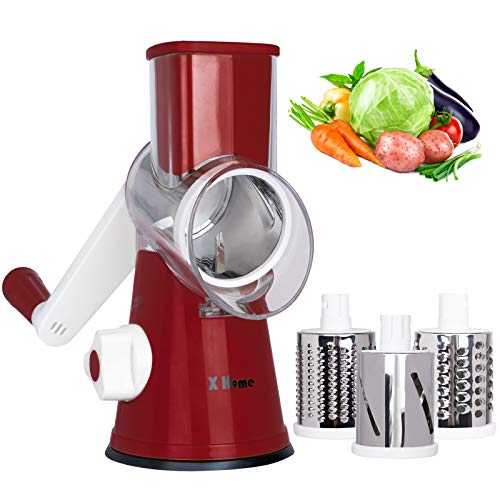 X Home Rotary Cheese Grater Shredder - 3 Drum Blades Manual Vegetable Slicer Nut Grinder with Strong Suction Base, Easy to Clean (Red)