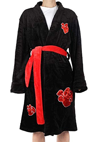 BEDJIMI Anime Bathrobe for Men Clouds Embroidered Winter Warm Flannel Robe Pajamas Sleepwear Halloween Cosplay Costume Black