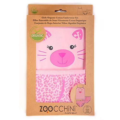 Zoocchini conjunto niña tirantes/braga diseño de gatito rosa 2–3años