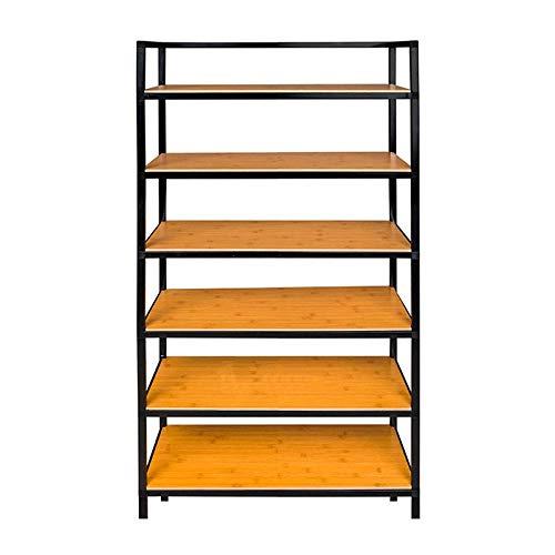 JIADUOBAO Zapatero simple para el hogar, de varias capas, de hierro forjado, para montar y almacenar, a prueba de polvo, para ahorrar espacio (color: negro, tamaño: L)