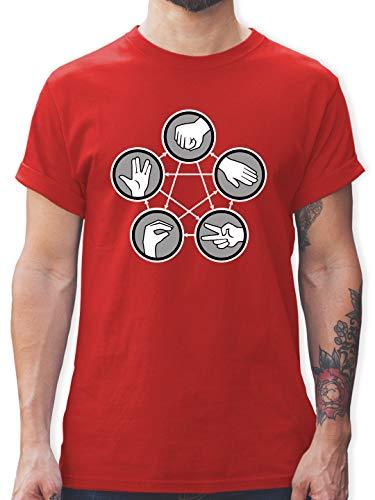 Nerds & Geeks - Rock Paper Scissors Lizard Spock - Schere Stein Papier Echse Spock - M - Rot - t-scher - L190 - Tshirt Herren und Männer T-Shirts