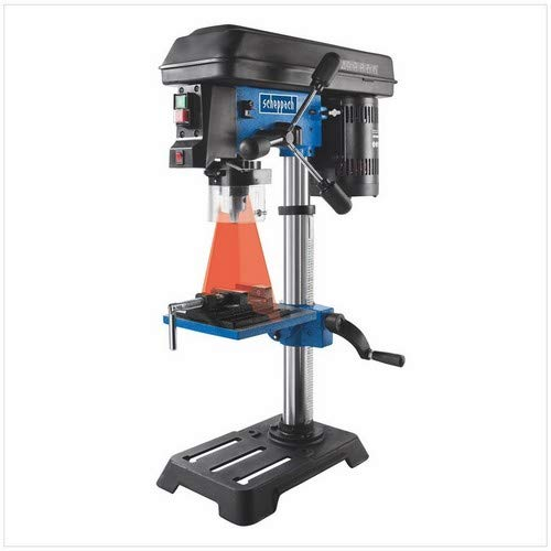 Scheppach Tischbohrmaschine DP16SL mit Schraubstock (550 W, Gusseisen-Kostruktion, 5 Geschwindigkeiten, Bohrfutter Spannbereich: 16mm, integrierter Laser, inkl. Schraubstock) - für Holz, Metall und alle gängigen Kuststoffe
