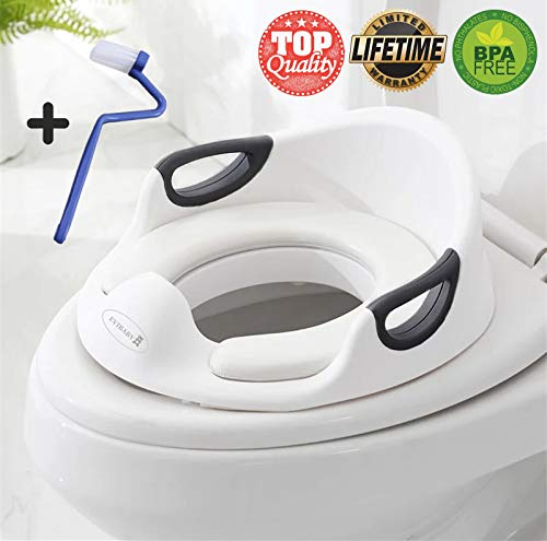 Potty Training Seat for Boys Girls Kids Toddlers Toilet Training Seat Potty Seat for Baby with Detachable Soft Cushion Sturdy Handle and Backrest Toddlers Toilet Training Seat Anti-Slip Rubber Grip