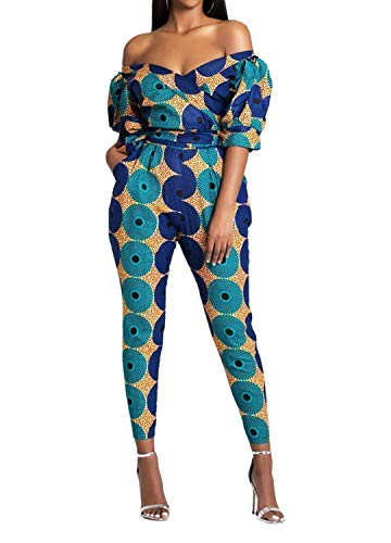 Novia's Choice Women's African Print Jumpsuits Off Shoulder Rompers Long Pants One Piece with Pockets(Style3 L)