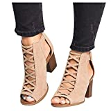 Ankle Boots for Women Low Heel,Summer Caged Gladiator Block Heel Strappy Dress Dressy Sandals Shoes for Women Beige