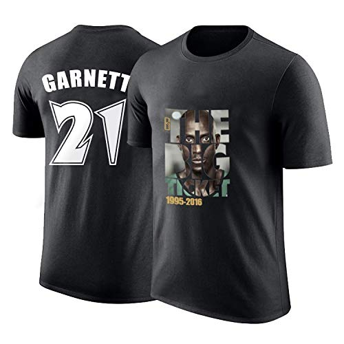 XXHDEE T-Shirt Uomo kg Garnett Retired Memorial Basket Manica Corta Star Forest Wolf Mezza Manica Retro Pallacanestro t-Shirt (Color : Black, Size : XL)