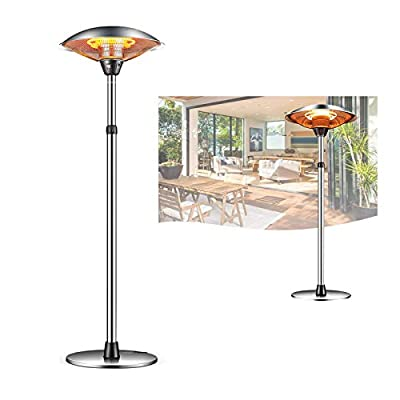 Vicareer Electric Outdoor Heater 1500W/2200W/3000W Floorstanding Infrared Patio Heater 3 Adjustable Power Level?Portable Commercial Heater with Over Heat Protection?110V,Tip-Over Shut Off