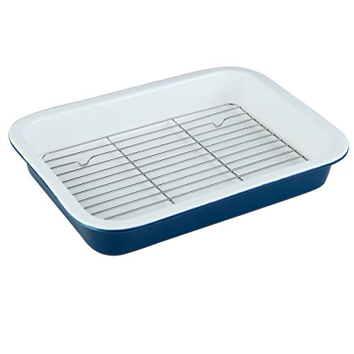 DUS Ceramic 13×9 Inches Baking Dish Pan with Rack for Oven Cooked Bacon Roasts Lasagna,Daily Use at Home,Blue