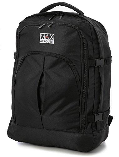Aerolite Max, bagaglio a mano da cabina, zaino, nero, 55x 40x 20 cm(44litri)