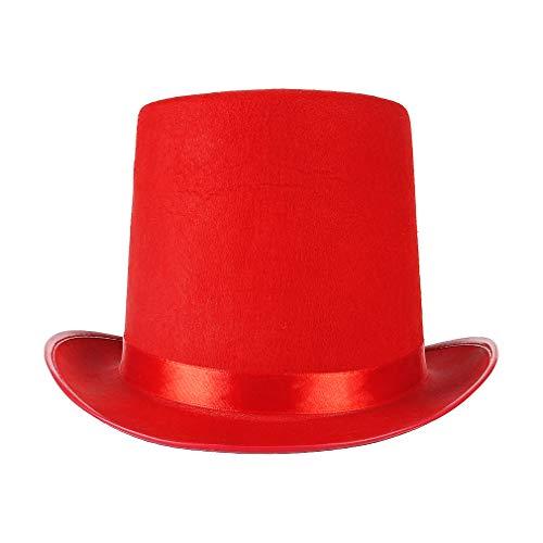 GEMVIE Sombrero de Copa con Cinta de Raso para Adultos, Sombrero de Copa Chapeau , color negro,Sombrero de mago de fiesta para carnaval(rojo)