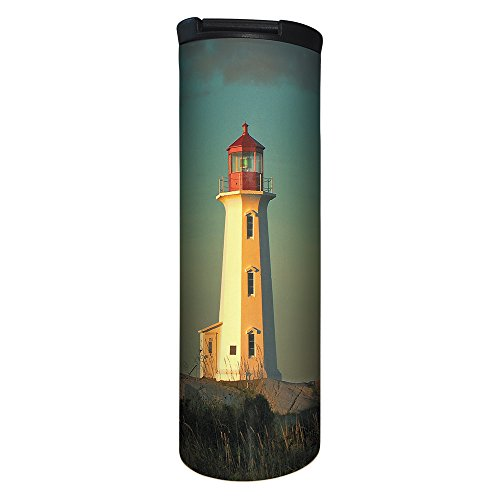 Tree-Free Greetings BT21931 Barista Tumbler Vacuum Insulated, Stainless Steel Travel Coffee Mug/Cup, Lighthouse Point