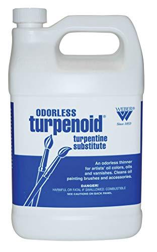 Weber Odorless Turpenoid, Artist Paint Thinner and Cleaner, 946ml (36 Fl Oz) Bottle, 1 Each