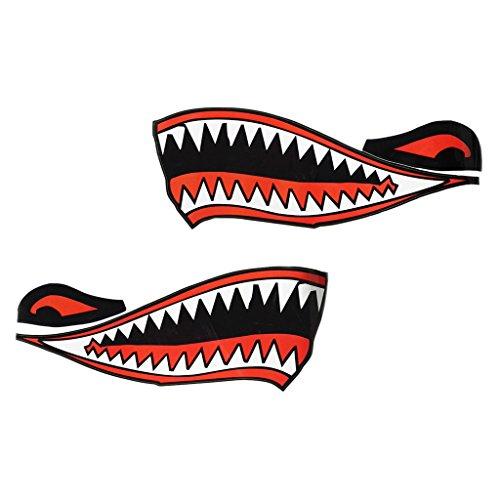 Toygogo 2Pcs Cool Shark Teeth Boca Calcomanías Calcomanías para Kayak Canoa Barco Bote