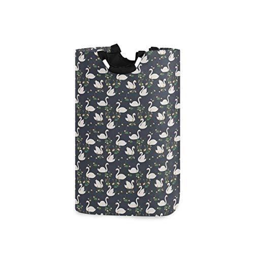 BEITUOLA Wäschesammler Wäschekorb Faltbarer Aufbewahrungskorb,Schwanenlilien Rohrkolben Wasservögel drucken,Wäschesack - Wäschekörbe - Laundry Baskets