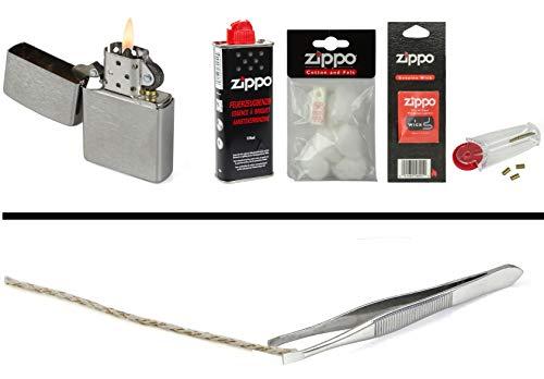 Zippo Set 3: Zippo Feuerzeug Chrom + Benzin, Feuersteine, Watte, Docht und Pinzette