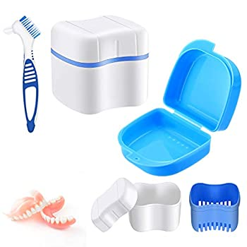 3 Pieces Retainer Box Set Including Denture Case Holder Retainer Box Cup Container and Double Head Denture Toothbrush for Retainer Mouth Guard and Denture Storage Cleaning White and Blue