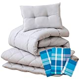 EMOOR 6-Piece All in ONE Japanese Futon Set Lumiere3, Twin Size, Chemical-Free Cover (Plaid-Ocean)
