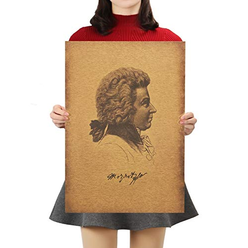 Berühmter Musiker Mozart Kraftpapier Poster Retro Bar Cafe Home Dekorative Malerei Wandaufkleber 51,5X36Cm