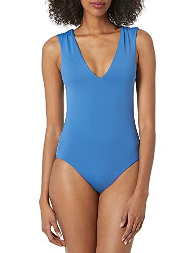 Seafolly Damen V Neck Maillot Badeanzug, Marina Blue, 38