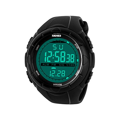 iLove EU Herren Armbanduhr 50m Wasserdicht Digital LED Alarm Datum Uhr Sportuhr Stoppuhr mit Silikon Band Schwarz