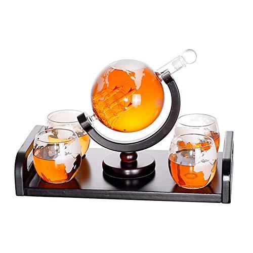 GXYtable cloth Whiskey Carafe 1000 ML Globo de la Boca soplado y 4 Gafas Conjunto de 300 ml de Vidrio Decanter Gin Sloe Sloe Botella de Cristal Liqueur Schnapps Decantador de Vino