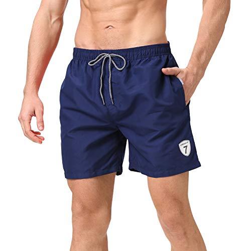 coskefy Badehose für Herren Jungen Schnelltrocknend Badeshorts für Männer Boardshorts Strand Shorts mit Mesh-Futter und Verstellbarem Tunnelzug Schwimmhose Sporthose