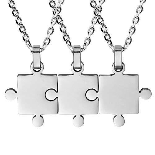 Flongo Freundschaftsketten BFF Anhänger Partnerketten Best Friends Halskette für 3 Halskette Freundschaftskette Kette Puzzle aus Edelstahl Silber für Herren, Damen