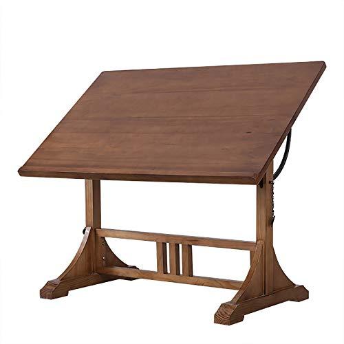 ZDAMN Mesa de pintura retro de madera maciza caballete plan de dibujo, banco de trabajo, mesa de dibujo, mesa de dibujo para dibujo (color: natural, tamaño: 100 x 60 x 85 cm)