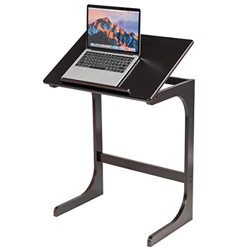 COSTWAY Beistelltisch Laptoptisch C-förmig, Kaffeetisch Computertisch Bambus, Stehtisch mit Metallgestell, Couchtisch Höhenverstellbar, Wohnzimmertisch Nachttisch fürs Bett