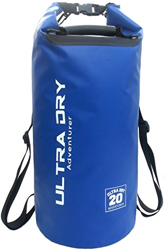 Premium Wasserdichte Tasche, Sack mit Handy-Trockentasche und langem, verstellbarem Schultergurt, ideal für Kajakfahren/ Bootfahren/ Kanufahren / Angeln / Rafting / Schwimmen / Camping (Blau, 10 Liter)