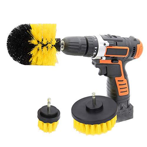 Juego de cepillos de limpieza Potente y fuerte Juego de cepillos de taladro Kit de accesorio de taladro inalámbrico para superficies de baño(yellow)