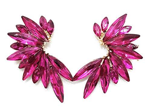 Pendientes Cristales Colores Mujer Pendientes Fiesta Boda Medio Aro, Chapado Oro Fucsia