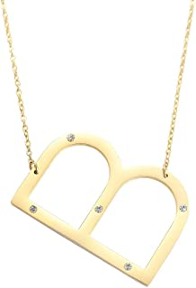 Initial Necklace,Big Letter Necklaces for Women Girls Personalized Jewelry Stainless Steel Diamonds Pendant 26 A-Z