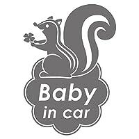 imoninn BABY in car ステッカー 【パッケージ版】 No.36 リスさん (シルバーメタリック)