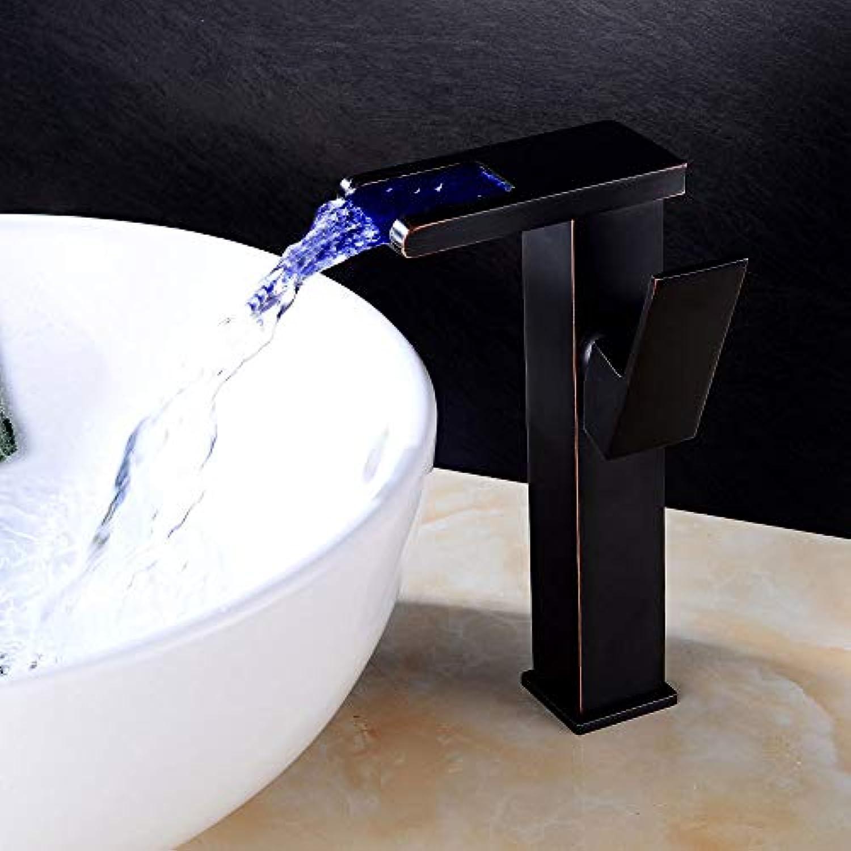 Becken Tippen Sie auf Bad Mono Sinken Wasserhahn mit Aufgerüstet Temperatur Sensor Wasserkraft Leistung RGB LED-Licht Wasserfall Tülle Single Griff Hebel gro Karosserie Wasserhahn (Schwarz)