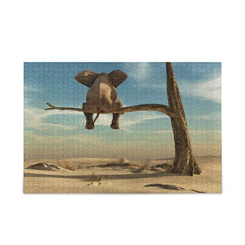 Puzzle 500 Piezas/Puzzle 1000 Piezas, Rompecabezas de árbol de Elefante de Animales del Desierto para Adultos, 500 Piezas, Juegos de Rompecabezas educativos, Juguetes para familias y Adolescentes