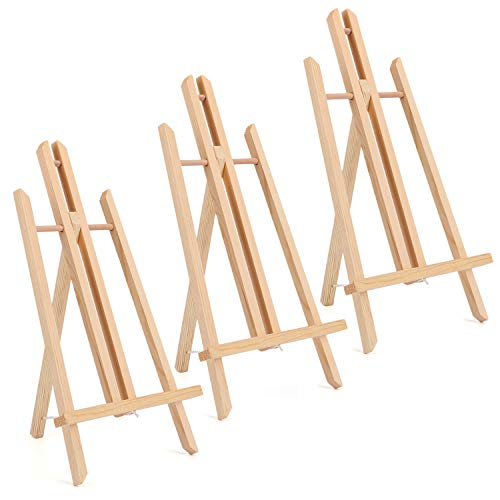 Tosnail 3 Pack 16' Natural Wooden Easel Stand Tabletop Easel Painting Easel