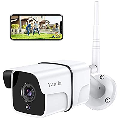 Security Camera Outdoor, Yamla 1080P WiFi Home Security Surveillance Camera Works with Alexa, Remote IP Camera with Cloud Service Night Vision 2-Way Audio Motion Detection Activity Alert 1PC
