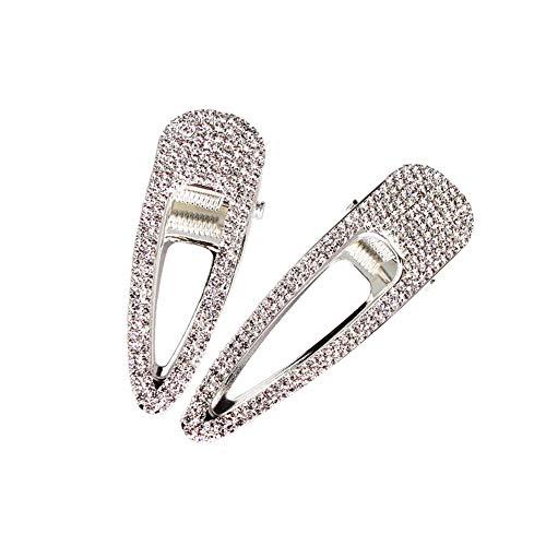2 Stück Silber Kristall Haarspangen Haarschmuck Alligator Haarspangen Strass Ente Bill Haarspangen Hochzeit Haarnadeln für Frauen
